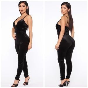 Fashion Nova Black Velvet Jumpsuit
